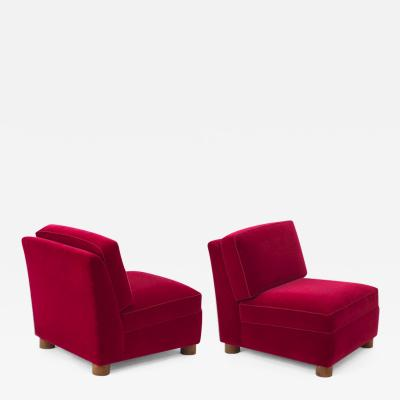 Jean Roy re Jean Royere documented pair of lounge slipper chairs covered in red mohair