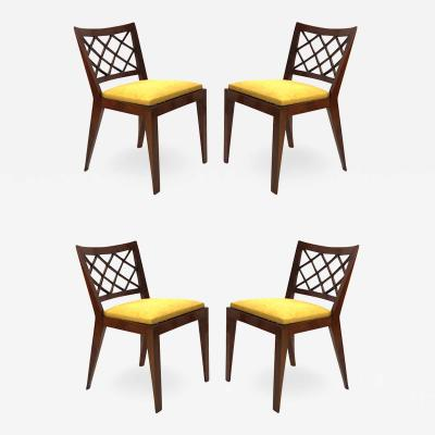 Jean Roy re Jean Royere documented set of 4 model croisillon chairs
