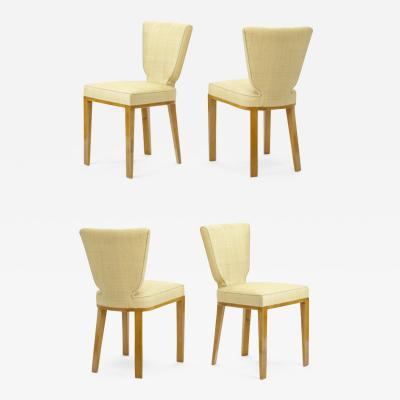 Jean Roy re Jean Royere documented vintage 4 trefle chairs covered in raphia cloth
