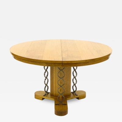 Jean Roy re Jean Royere extendable documented genuine oak model Ruban dinning table