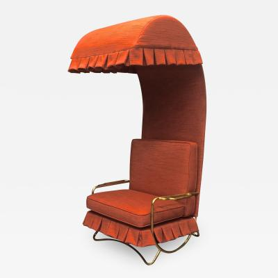Jean Roy re Jean Royere genuine Irans shah model sunchair in gold leaf orange cloth