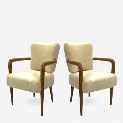 Jean Roy re Jean Royere pair of ash tree trefle arm chair covered in raw white faux fur