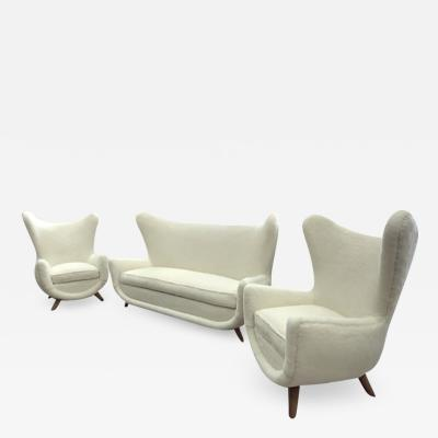 Jean Roy re Jean Royere rarest documented set of 2 chairs and 1 couch model Elephanteau