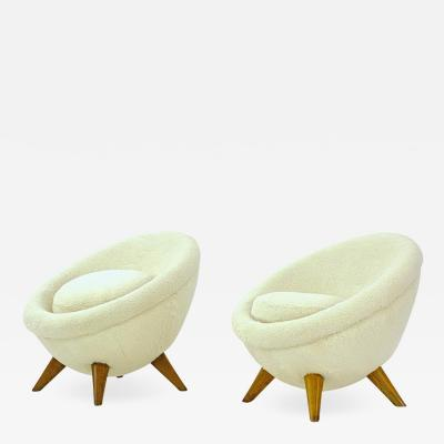 Jean Roy re Jean Royere rarest genuine documented pair of Petit Oeuf chairs