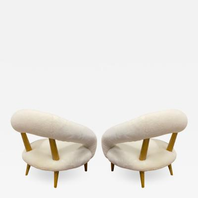 Jean Roy re Jean Royere rarest unique Chambre a air model pair of lounge chairs