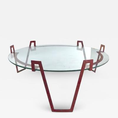 Jean Roy re Jean Royere red lacquered wrought iron model Val dor coffee table