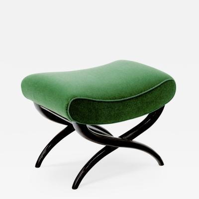 Jean Roy re Jean Royere shaped stool newly covered in green empire mohair