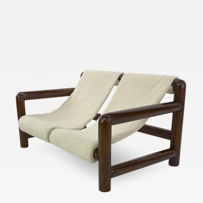 Jean Roy re Jean Royere style vintage brutalist alp rounded log wood settee