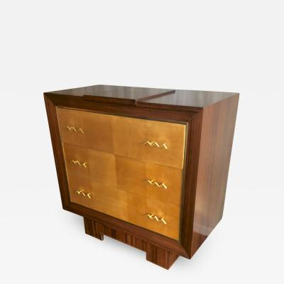 Jean Roy re Jean royere for Gouffe refined chest of drawer with gold bronze wave handles