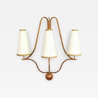 Jean Roy re Large Jean Royere Corbeille Gold Leaf Wall Lamp