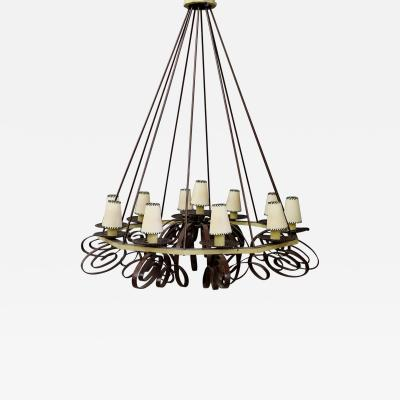 Jean Roy re MidCentury French Chandelier in forged iron attributed to Jean Roy re 1950s