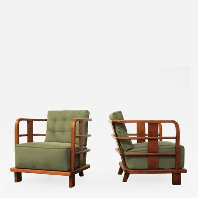 Jean Roy re Pair of French Club Chairs att Jean Royere
