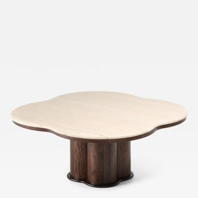 Jean Roy re Postmodern Travertine Shamrock Coffee Table In The Style Of Jean Roy re 1970s