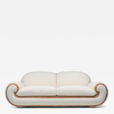 Jean Roy re Vivai Del Sud Sofa In Boucl Wool Rattan 1970s