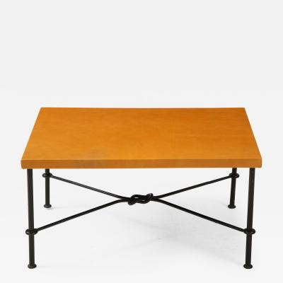 Jean Roy re Wrought iron leather side table in the style of Royere France 1940s