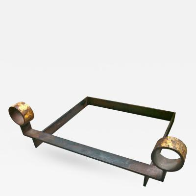 Jean Royere Large Very Pure Design Wrought Iron Andiron