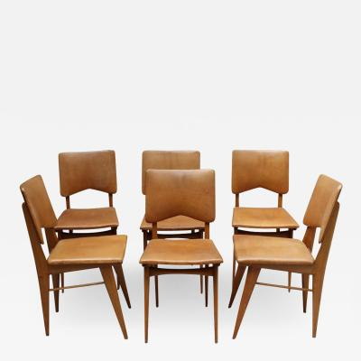 Jean Souvrain Set of 6 French 1950s Cherry and Leather Chairs by Jean Souvrain