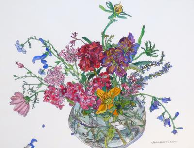 Jean Swan Gordon Bouquet in Glass Bowl