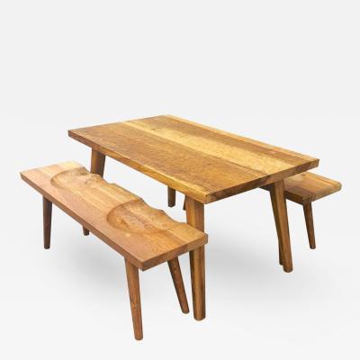 Jean Touret Jean Touret Organic Oak Dining Set of 1 Dining Table 2 Benches