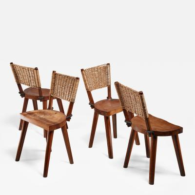 Jean Touret Jean Touret Set of Four Oak and Cane Dining Chairs for Marolles France 1950s