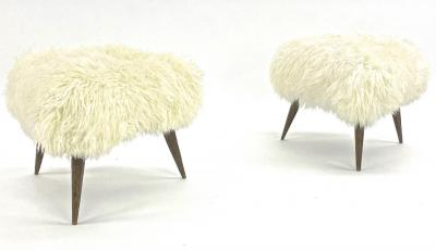 Jean Touret Jean Touret for Atelier Marolles pair of brutalist stool newly covered in fur