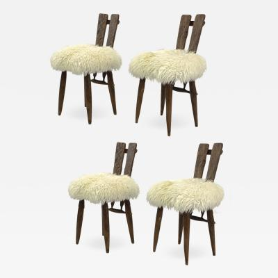 Jean Touret Jean Touret for Ateliers Marolles set of 4 dinning chairs recovered in Fur