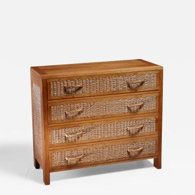 Jean Touret Jean Touret oak and wicker commode for Marolles France 1950s