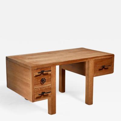 Jean Touret Jean Touret oak desk for Marolles France 1950s