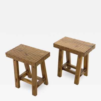 Jean Touret Jean Touret style awesome pair of brutalist stools oak carved A la gouge