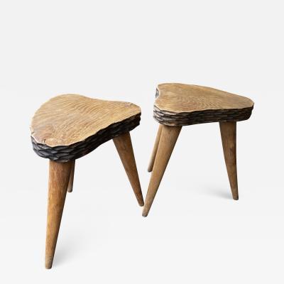 Jean Touret Jean Touret style brutalist pair of oak tripod stools carved a la gouge