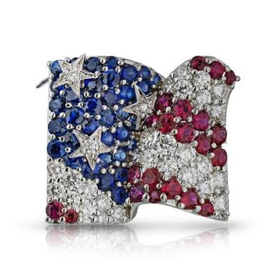 Jean Vitau JEAN VITAU 18K WHITE GOLD SAPPHIRE DIAMOND AND RUBY AMERICAN FLAG BROOCH
