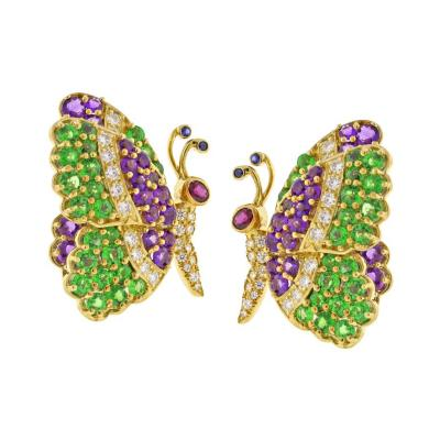 Jean Vitau Jean Vitau Multi Gem Butterfly Earrings