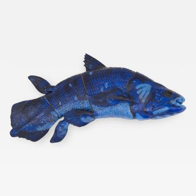 Jeanne Grut The Blue Fish Coelacanth Blue glazed Relief in Stoneware