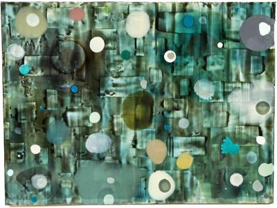 Jeff Leonard Jeff Leonard Abstract Resin Panel in Aqua Greens and Blues