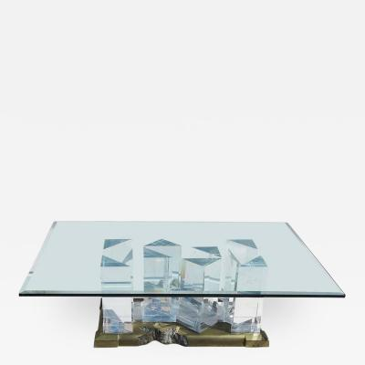 Jeffrey Bigelow Jeffrey Bigelow Signed Towers Lucite and Brass Coffee Table 1989