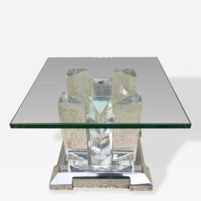 Jeffrey Bigelow Rare Cityscape Polished Aluminum Glass Side Table