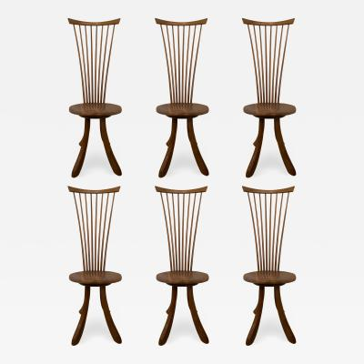 Jeffrey Greene A Set of 6 American Modern Walnut High Back Dining Chairs Jeffrey Greene