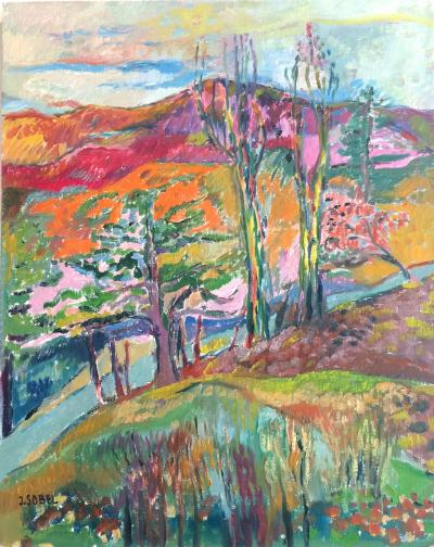 Jehudith Sobel Impressionistic Landscape With Mountain View