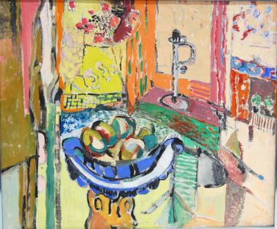 Jehudith Sobel Interior Still Life Fruit in Blue Bowl