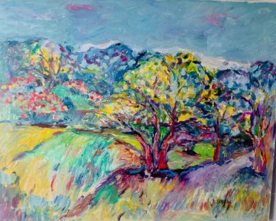 Jehudith Sobel Landscape With Yellow Tree