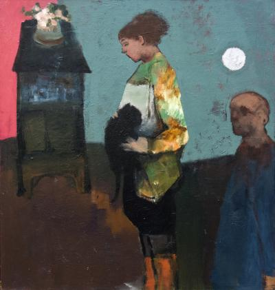 Jennifer Hornyak Girl with Black Cat and Silver Moon