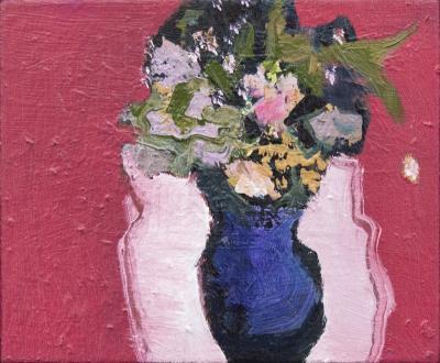 Jennifer Hornyak Violet Vase with Rose Madder