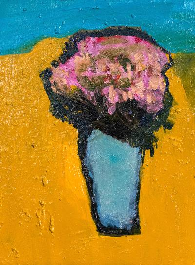 Jennifer Hornyak Yellow Burst with Pink and Turquoise