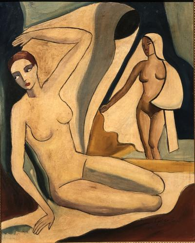 Jeno Gabor Two Nudes One Seated