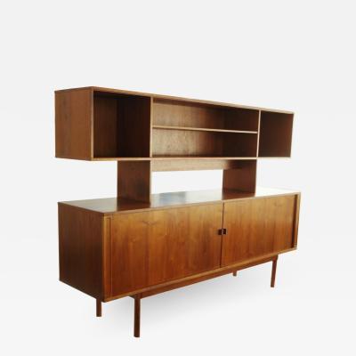 Jens Quistgaard Danish Modern Tambour Door Credenza Cabinet Hutch Jens H Quistgaard for Lovig
