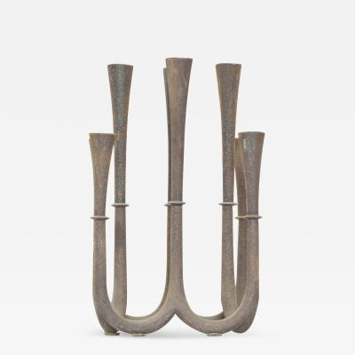 Jens Quistgaard JAPAN Rustic Eight Candleholder Candelabra Sweeping Elegance Sculpted Iron 1970s