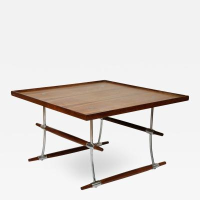 Jens Quistgaard Rosewood and chromed metal coffee table by Jens Quistgaard