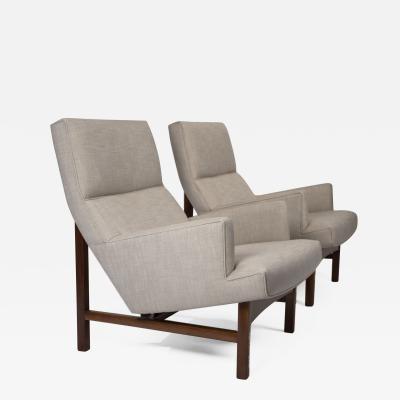 Jens Risom Jen Risom Floating Lounge Chairs in Walnut Cradle Frames with Linen Upholstery