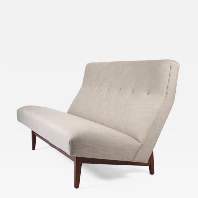 Jens Risom Jens Risom Armless Settee in Walnut Cradle Frames with Linen Upholstery
