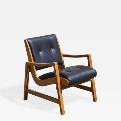 Jens Risom Jens Risom Beech Wood and Leather Lounge Chair